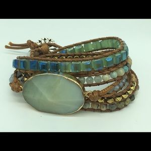 Fashion woman natural Stone crystal wrap Bracelets